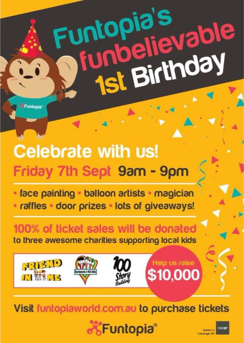 Funtopia Maribyrnong Indoor Playground First Birthday Fundraiser
