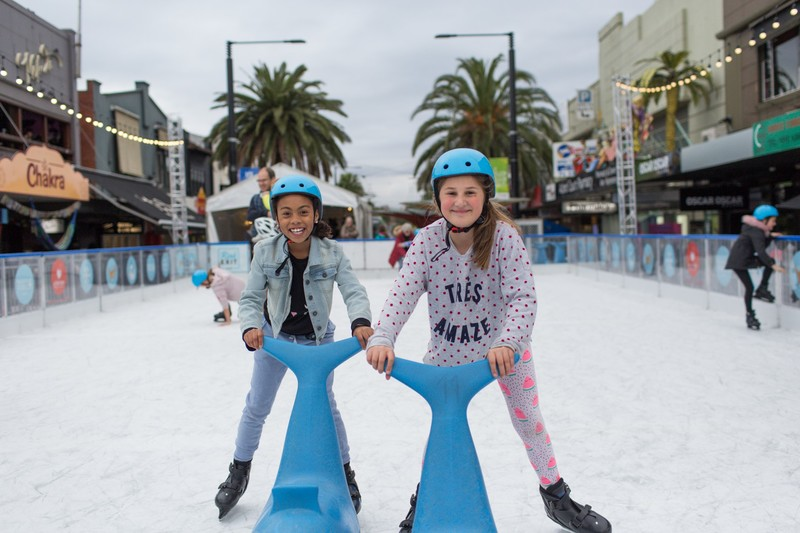 Ice Skating at the 2019 Air Canada Ice Rink in St Kilda